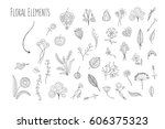lovely hand drawn floral... | Shutterstock .eps vector #606375323
