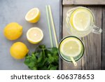 homemade lemonade in glass jar... | Shutterstock . vector #606378653