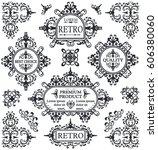vintage retro frames  ornate... | Shutterstock .eps vector #606380060