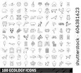 100 ecology set in outline...   Shutterstock .eps vector #606381623