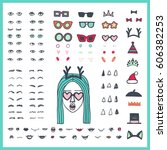 doodle woman face bundle. hand... | Shutterstock .eps vector #606382253