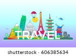 travel   modern vector line... | Shutterstock .eps vector #606385634