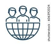 half globe plus group of people ... | Shutterstock .eps vector #606392024