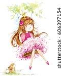 cute princess. little girl... | Shutterstock . vector #606397154