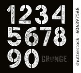 stencil plate numbers with... | Shutterstock .eps vector #606397568