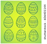 set of nine hand drawn easter... | Shutterstock .eps vector #606401144