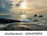 morning on the island of koh... | Shutterstock . vector #606405890