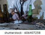 wasted alcoholic and drug... | Shutterstock . vector #606407258