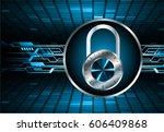 closed padlock on digital
