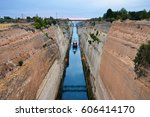 ship crossing the corinth canal ... | Shutterstock . vector #606414170