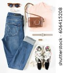 stylish female clothes set.... | Shutterstock . vector #606415208