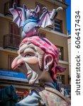 valencia spain   march 19  las... | Shutterstock . vector #606417434