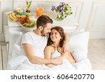 young adult heterosexual couple ... | Shutterstock . vector #606420770
