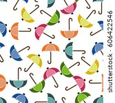 seamless background umbrella in ... | Shutterstock . vector #606422546