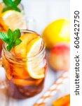homemade iced lemonade with...   Shutterstock . vector #606422750
