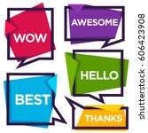 paper speech bubbles with... | Shutterstock .eps vector #606423908