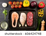 animal proteins ready to be... | Shutterstock . vector #606424748