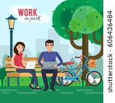 man and woman freelancers works ... | Shutterstock .eps vector #606436484