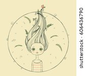 beautiful girl with flying hair ... | Shutterstock .eps vector #606436790