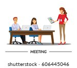 business people having board... | Shutterstock .eps vector #606445046