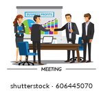 businesss and office concept  ... | Shutterstock .eps vector #606445070