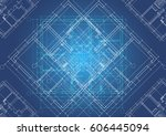 architectural plans situated in ... | Shutterstock .eps vector #606445094