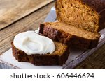 homemade pumpkin bread with... | Shutterstock . vector #606446624