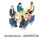 conversation at the round table ... | Shutterstock .eps vector #606450728