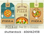 pizza price tags for italian... | Shutterstock .eps vector #606462458