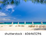 blue sky and blue sea  at... | Shutterstock . vector #606465296