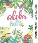 aloha hawaii summer beach card. ... | Shutterstock .eps vector #606468908
