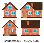 house made of red bricks on... | Shutterstock .eps vector #606474683