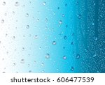 Image Of Raindrops On Blue...