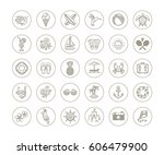 line drawing vector icons  ... | Shutterstock .eps vector #606479900