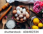 Close Up Of  Eggs In A Basket....