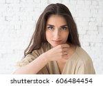 young beautiful woman day light ... | Shutterstock . vector #606484454
