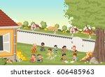 cartoon kids playing in suburb...   Shutterstock .eps vector #606485963