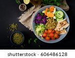 healthy salad with chicken ... | Shutterstock . vector #606486128