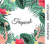 exotic tropical jungle rain...   Shutterstock .eps vector #606491324