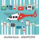 ambulance helicopter  medical... | Shutterstock .eps vector #606492350