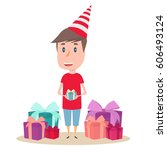 the boy is holding a gift box.... | Shutterstock .eps vector #606493124