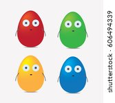 easter egg characters in 3d... | Shutterstock .eps vector #606494339