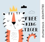 free tiger illustration vector... | Shutterstock .eps vector #606494780