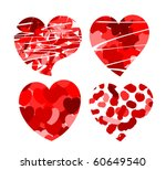 Original Patterned Red Hearts....