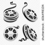 movie video reel film disks... | Shutterstock .eps vector #606498104