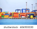 port cargo crane and container  ... | Shutterstock . vector #606503330