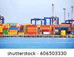 port cargo crane and container  ... | Shutterstock . vector #606503330