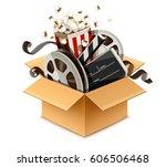 full cardboard box filled... | Shutterstock .eps vector #606506468