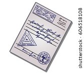 medical certificate with a seal ... | Shutterstock .eps vector #606518108