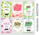 set of spring sale banners.... | Shutterstock .eps vector #606527018